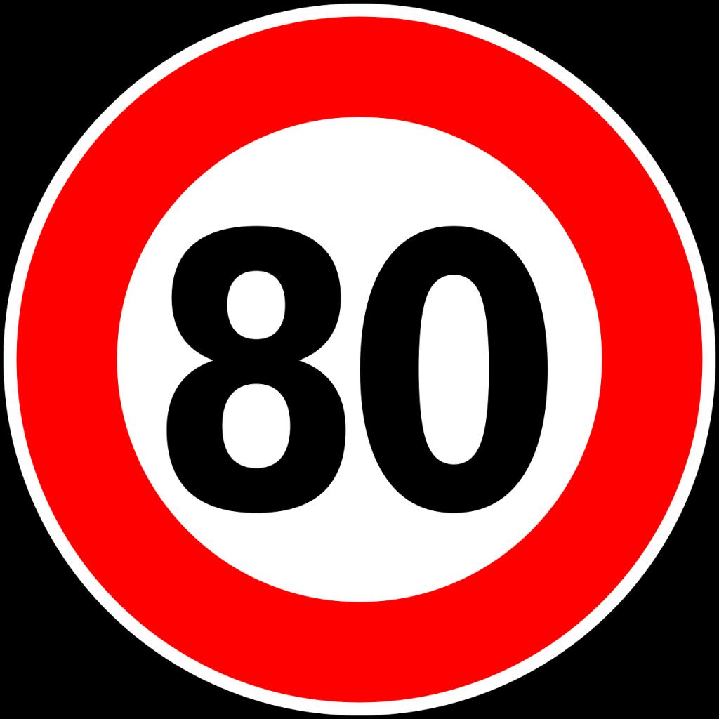 señal de trafico que marca 80