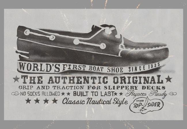 zapato náutico en cartel antiguo