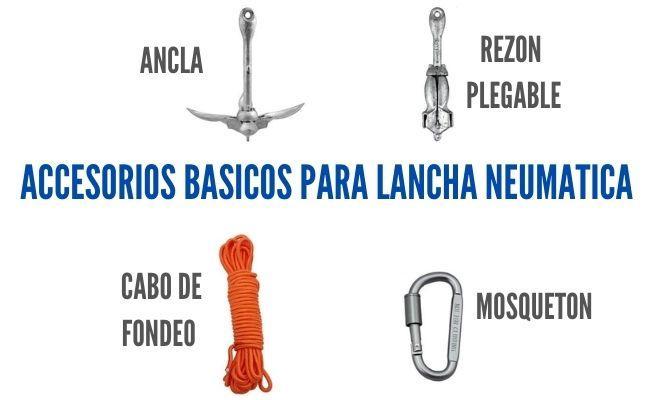 accesorios para una lancha neumatica como ancla cuerda y mosqueton