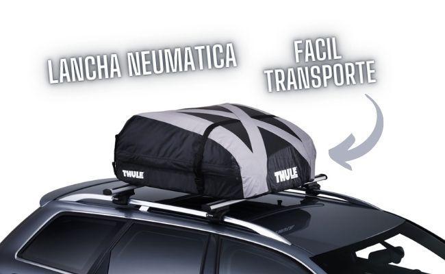ejemplo de portaequipajes de coche con neumatica en bolsa plegada