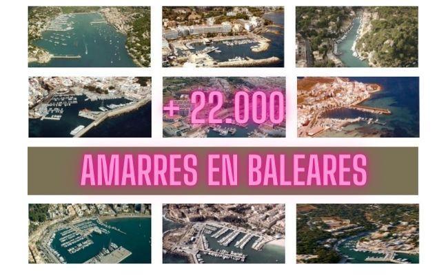mosaico de imágenes de algunos de los 22.000 amarres que hay en Mallorca, Menorca e Ibiza